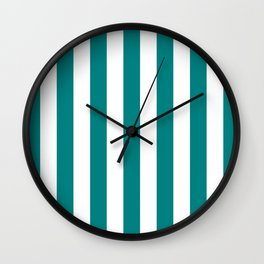 Vertical Stripes (Teal/White) Wall Clock