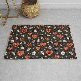 I Heart Halloween Pattern (Black) Rug