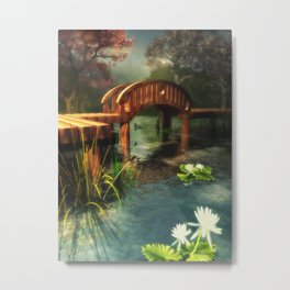 Wooden bridge over lotus pond Metal Print