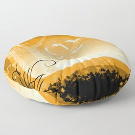 Dark Forest at Dawn in Amber Floor Pillow