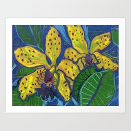 Yellow Orchid Tropical Flowers Floral Pastel Sketch Art Print