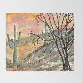 Southwestern Art Desert Painting Throw Blanket