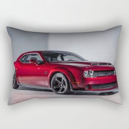 Candy Apple Red Challenger SRT Demon MOPAR Muscle Car Rectangular Pillow