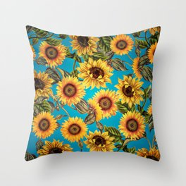 Vintage & Shabby Chic - Sunflowers on Turqoise Throw Pillow