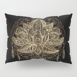 Lotus Black & Gold Pillow Sham