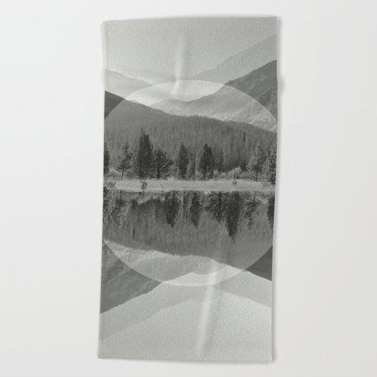 Mountain Mirror BW Beach Towel