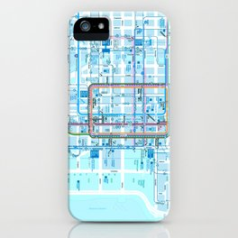 Chicago map in blue iPhone Case