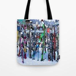Ski Party - Skis and Poles Tote Bag
