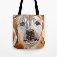 gemma Tote Bags featuring Gemma the Golden Retriever by Barking Dog Creations Studio