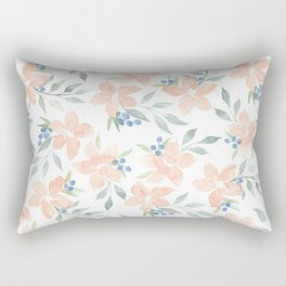 Peach Watercolor Flowers Rectangular Pillow