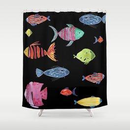 Fishies Black Shower Curtain