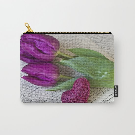 pink spring Tulips with heart Carry-All Pouch