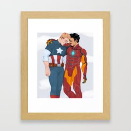 cap and iron man Framed Art Print