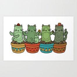 Catcus Garden (Single Row) Art Print