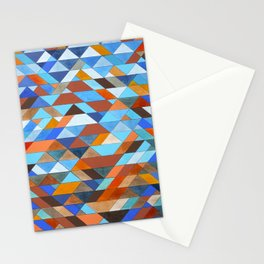 Triangle Pattern no.18 blue and orange Stationery Cards