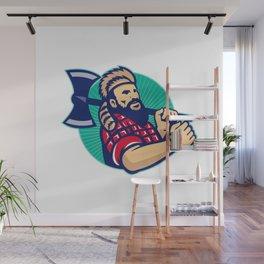 Lumberjack Logger With Axe Retro Wall Mural