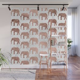 Modern faux rose gold elephants white marble Wall Mural