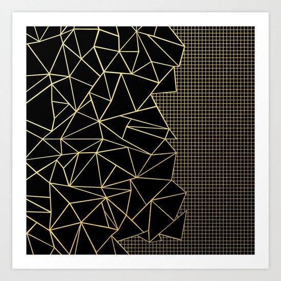 Ab Outline Grid Black and Gold Art Print