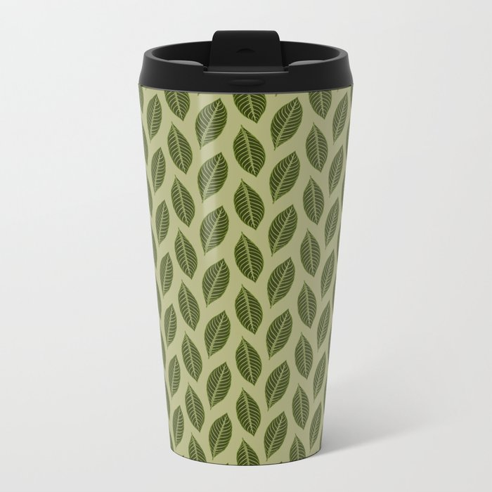 green foliage Metal Travel Mug