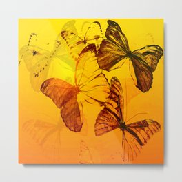 Lovely butterflies in sunset color - summer beauties on orange background Metal Print