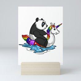 Panda Bear Riding Unicorn Float Pool Party Mini Art Print