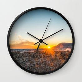 The bay of Montecarlo Monaco at sunset from Cap Martin in a sunny winter day Wall Clock