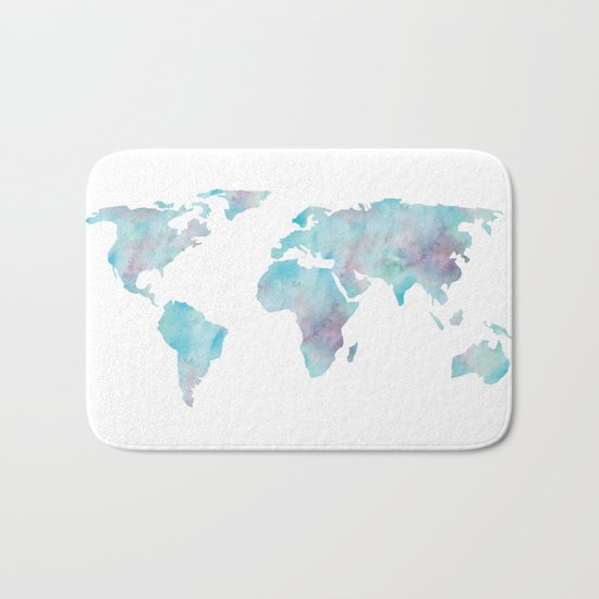 World Map Ocean Blue Bath Mat