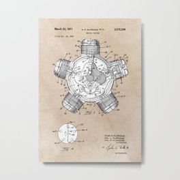 patent art Aldridge 1971 Radial engine Metal Print