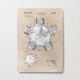 patent art Aldridge 1971 Radial engine Metal Print