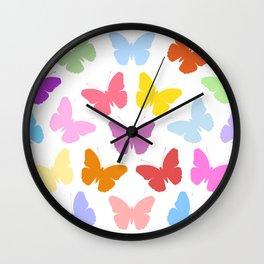 Multicoloured Butterflies Pattern Wall Clock