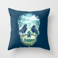 skull Throw Pillows featuring Nature's Skull by Rachel Caldwell