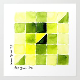 Color Chart - Lemon Yellow (DS) and Sap Green (DS) Art Print