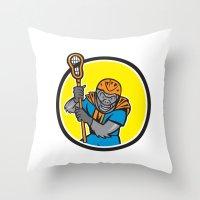 lacrosse Throw Pillows featuring Gorilla Lacrosse Player Circle Cartoon by patrimonio
