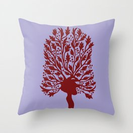 Heart Hawthorn Tree Throw Pillow