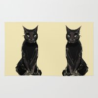 black cat Area & Throw Rugs featuring Black Cat by Jaleesa McLean