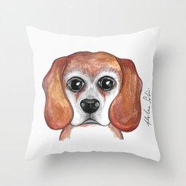 Brandy the Beagle Version 2 Throw Pillow