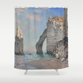 The Rock Needle and the Porte d'Aval by Claude Monet Shower Curtain