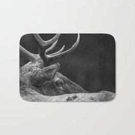Rain Falls on a Bull Roosevelt Elk in Redwood National Park Bath Mat