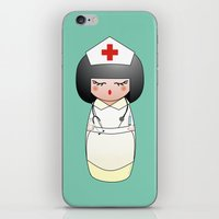 nurse iPhone & iPod Skins featuring Kokeshi Nurse by Pendientera