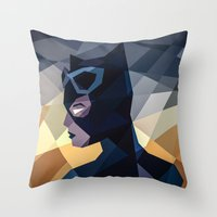 dc comics Throw Pillows featuring DC Comics Catwoman by Eric Dufresne