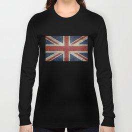 UK Flag, Dark grunge 3:5 scale Long Sleeve T-shirt