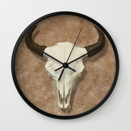 Bison Skull with Rose Rocks Wall Clock