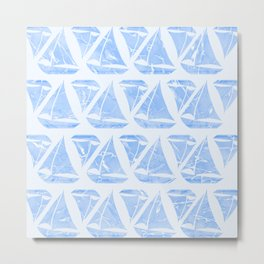 Blue Sailing Boats Water Pattern Metal Print