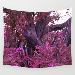 Pink red alien planet tree bright Wall Tapestry