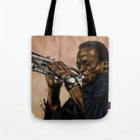 miles davis Tote Bags featuring Miles, jazz will never be the same by The Art Warriors