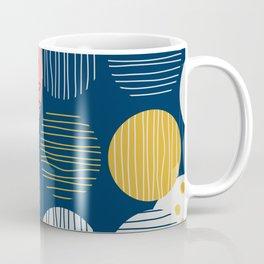 Mid Modern Nature 2.5 Coral, blue & Gold Coffee Mug