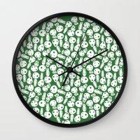 hayao miyazaki Wall Clocks featuring Hayao Miyazaki's Kodamas by Jana Garin