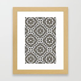 Gray, Gold, and White Geometric Abstract Framed Art Print