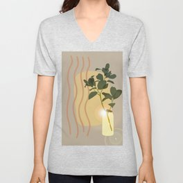 Green Leafed Plant Inside Vase, Sun Reflection Scene Unisex V-Neck