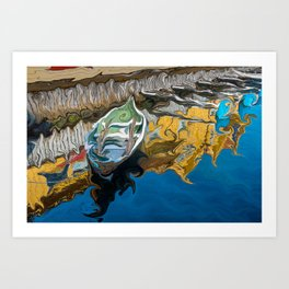 Norwegian Row Boat And Reflections Art Print